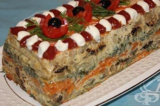 Рибена торта със зеленчуци и сушени сини сливи - изображение