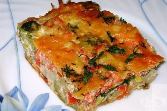 Рибена запеканка с броколи, карфиол и спанак - изображение