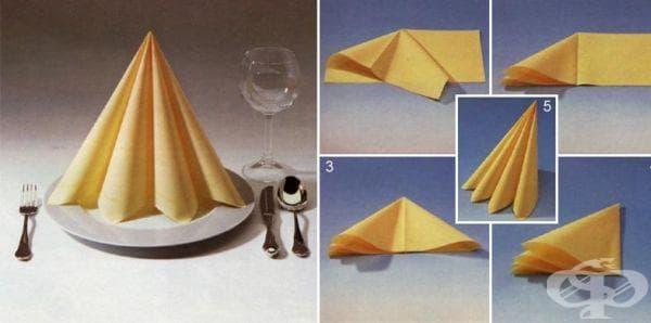 Как да сгънем салфетките под формата на двоен конус - изображение