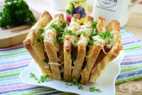 Сандвич-хармоника с шунка и моцарела - изображение