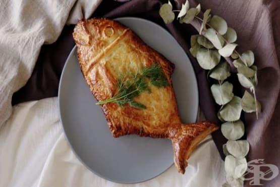 Сьомга в бутер тесто със спанак и горчица - изображение