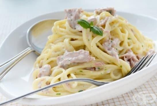 Спагети със сметана и риба тон - изображение