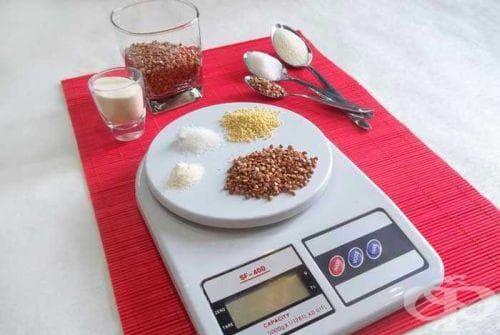 Сравнителна таблица на теглото на хранителните продукти в грамове - изображение