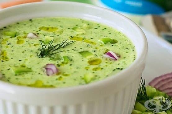 Студена супа от заквасена сметана и краставици с чесън, лук и естрагон - изображение