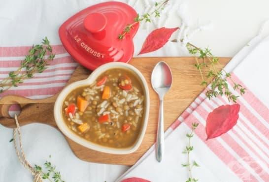 Зеленчукова супа с леща и ориз - изображение