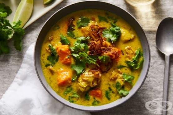 Супа с пилешко, кокосово мляко и сладки картофи - изображение