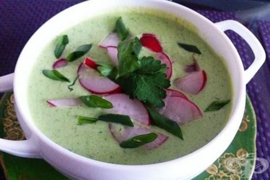 Студена супа с репички, зелен лук и копър - изображение