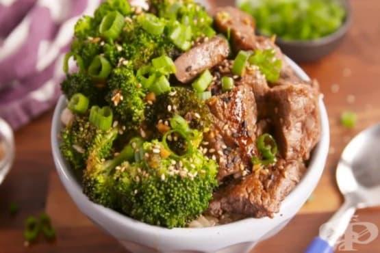 Телешко с броколи и сос - изображение