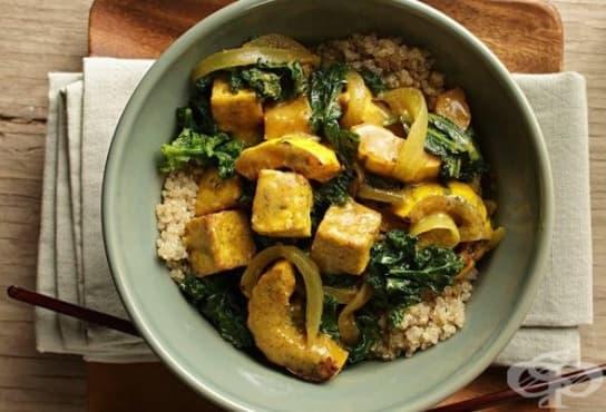 Тофу с къри, тиква и зеленчуци  - изображение