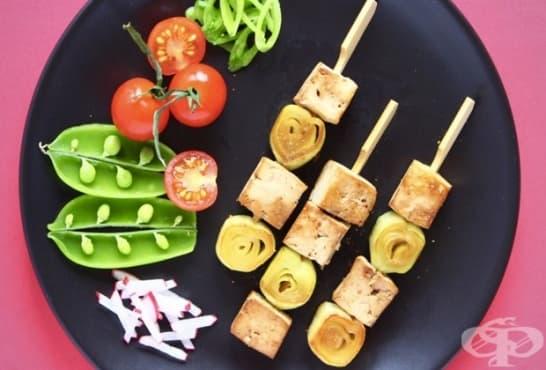 Веган шишчета с тофу и праз - изображение