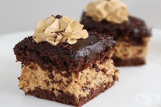 Торта с фъстъчен крем гриляж и шоколадова глазура - изображение
