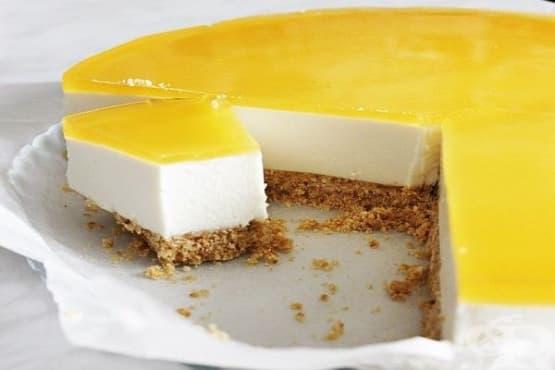 Торта-суфле с извара и портокалово покритие - изображение