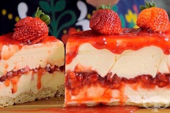 Чийзкейк с ягоди и бял шоколад (без печене) - изображение