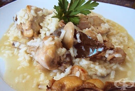 Заек с тъмна бира, ориз и гъби на фурна - изображение