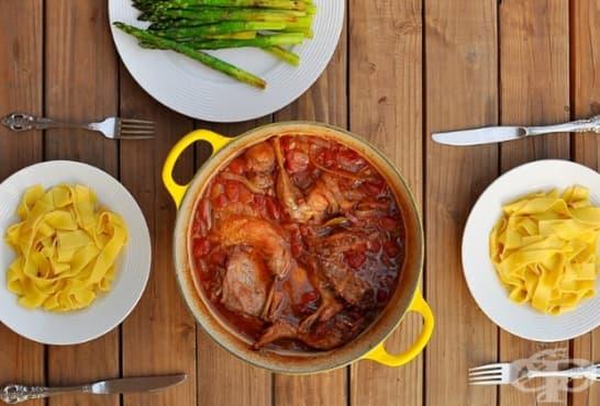 Заек със зеленчуци и талиатели - изображение