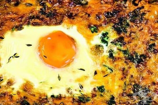 Запеканка от елда и извара със спанак и яйца - изображение