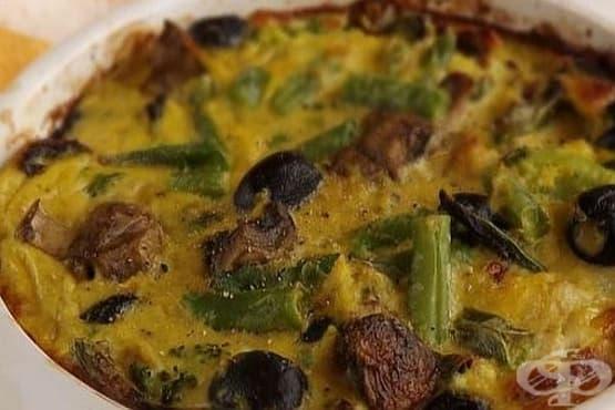Запеканка от карфиол и броколи с гъби и маслини - изображение