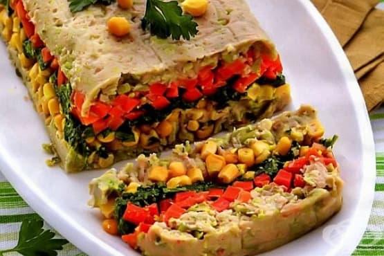Кекс от зеленчуци с боб и царевица - изображение