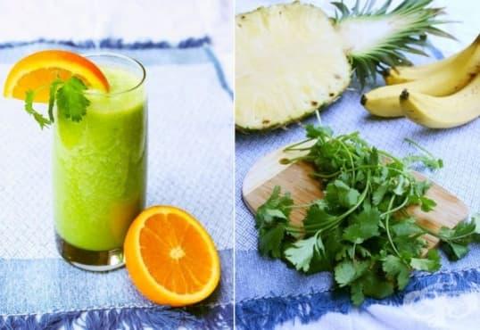Направете си енергизираща напитка от кориандър, ананас, банан и портокал - изображение