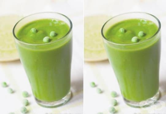 Пригответе си витаминозна напитка от грах, спанак, банан и ябълков сок - изображение