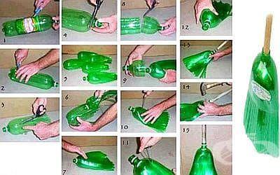 Използвайте стари пластмасови бутилки, за да си направите метла - изображение