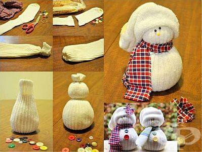 Направете си евтина и екологична коледна украса  - снежен човек от чорап - изображение