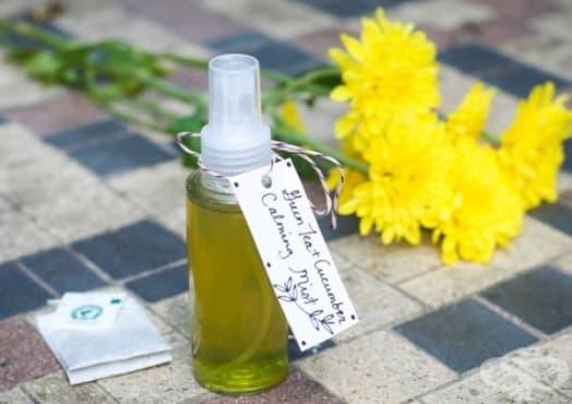 Направете си охлаждащ спрей за тяло с алое, зелен чай, краставица и мента - изображение