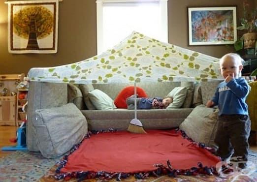Зарадвайте децата с къща или палатка от подръчни материали   - изображение