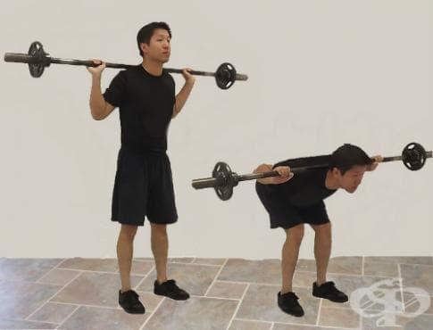 Навеждане напред от стоеж с щанга на раменете - изображение