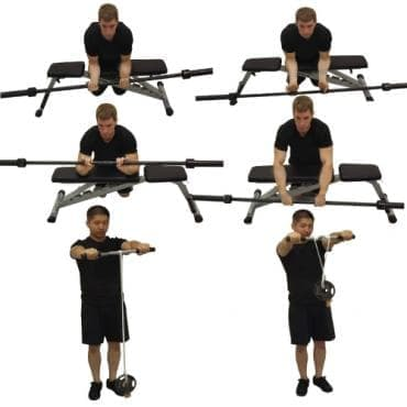Видове движения за предмишница с щанга - изображение