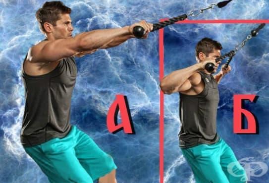 Придърпване на горен скрипец с въже към лицето – упражнението за силен трапец - изображение
