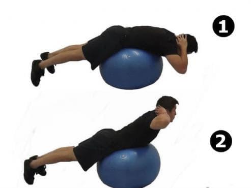 Гръбни екстензии върху фитнес топка - изображение