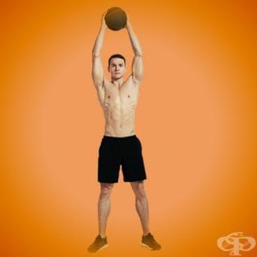 Кръгова табата тренировка с медицинска топка за релефна коремна преса - изображение