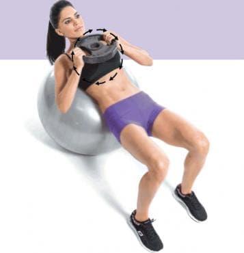 Коремни кръгове с тежест върху фитбол - изображение