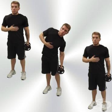 Наклони настрани с дъмбел в ръка за коремни мускули - изображение