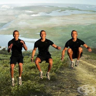 Скокове със свиване на коленете към гърдите - изображение