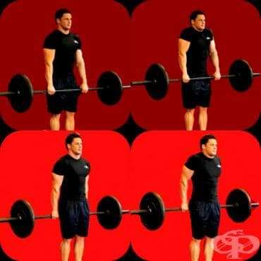 Упражнение за трапец - Раменна тяга с щанга - изображение
