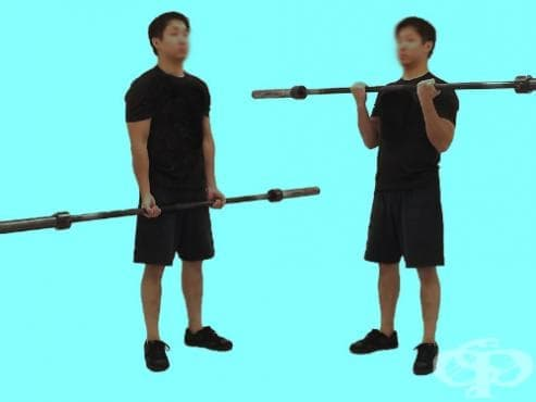 Бицепсово свиване с щанга от стоеж - изображение