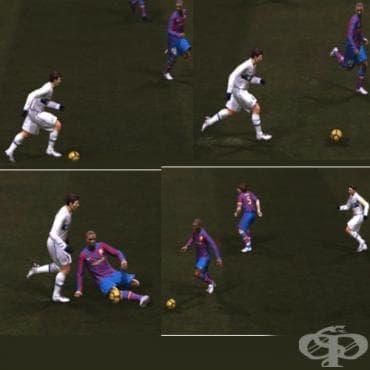 Защитни действия във футбола – шпагат - изображение
