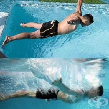 Скок по корем във вода - изображение