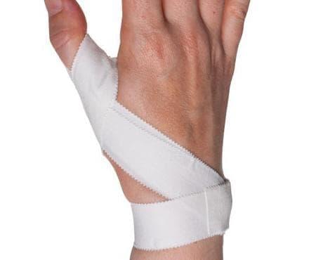 Спортен тейпинг за фиксиране на палеца на ръката - изображение