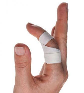 Тейпинг за фиксиране на пръст в полусвито положение - изображение