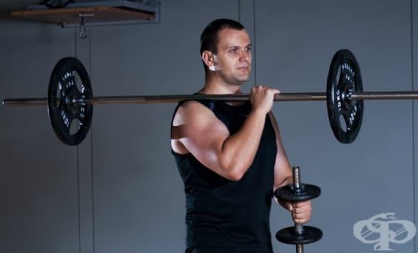 Упражнения за рамо с щанга и дъмбели - изображение